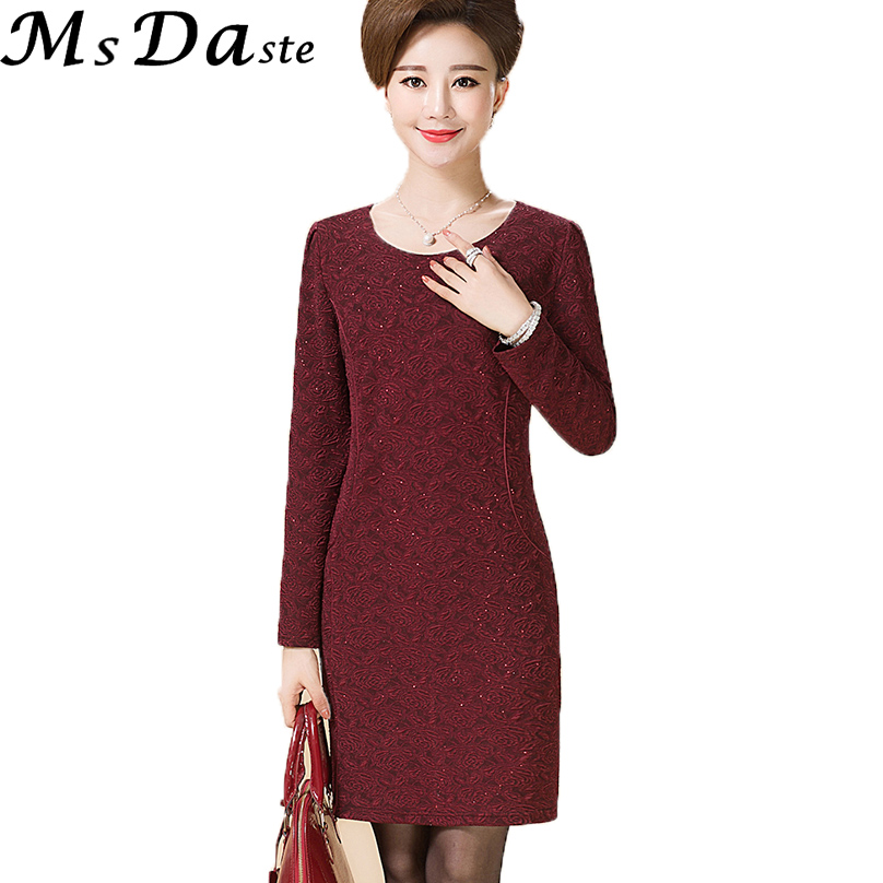 Bodycon Lady Elegant Dresess 2017 Autumn Winter Casual Floral Dress Tunic Workwear Vestidos Mujer Red Green Big Plus Size XL~5XL