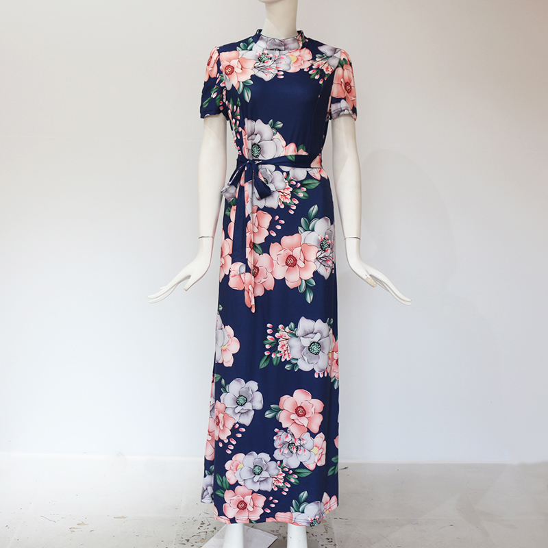 Women Long Maxi Dress 19 Summer Floral Print Boho Style Beach Dress Casual Short Sleeve Bandage Party Dress Vestidos Plus Size 10