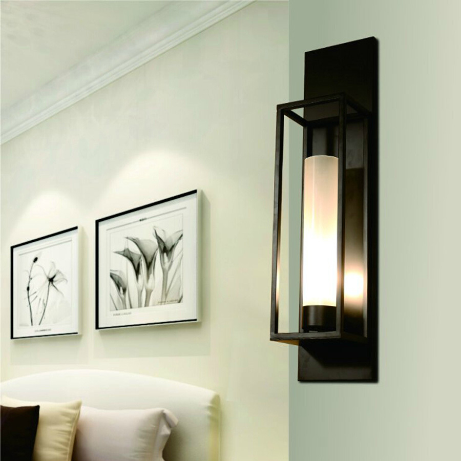 ФОТО Ecolight Vintage Wall Light Wall Sconces Black Painting E27 E26 H60cm Glass Wall Lamp for Bed Room Bath Room
