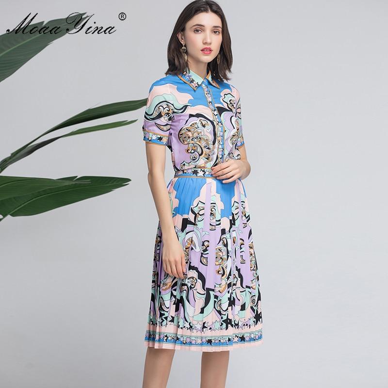 MoaaYina de diseñador de moda de las mujeres de verano de manga corta cordón impresión elegante Tops + falda de traje de dos piezas-in Conjuntos de mujer from Ropa de mujer    2