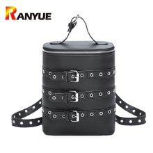 2017 европейский и американский Панк Рюкзак для подростков для девочек школьные сумки мини черные пояса сумка Женщины Кожаный Рюкзак мешочки