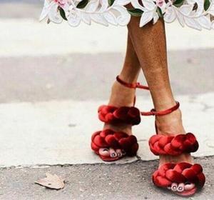 2018 летние женские сандалии-гладиаторы для подиума; Модельные вечерние туфли на высоком каблуке с плетеной тесьмой; Женские замшевые туфли-л...