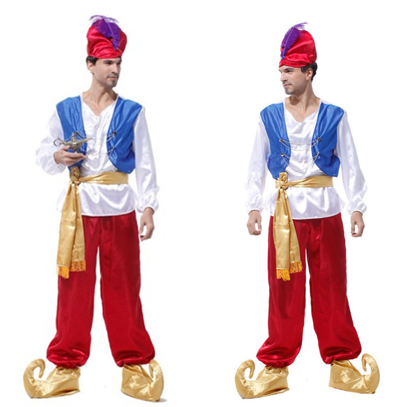 New Men Egypt Adam Prince Role Play Cosplay Halloween Aladdin Lamp Costume Carnival Masquerade Festival Parade Stage Show Dress Excellent (In) Quality