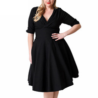 Sexy Vintage Dress Female V-neck Solid Solid Half Sleeve A-Line Dress Super Big Size 3XL-8XL Women Casual Party Dresses MZ1365