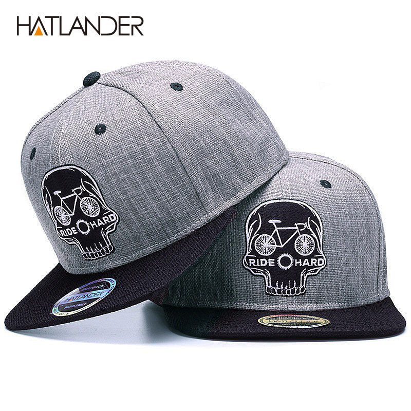 HATLANDER Original Baseball cap men snapback cap brand embroidery SKULL cool hip hop cap 6 panel bone linen Skeleton sports hats