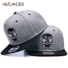 HATLANDER Original Baseball cap men snapback cap brand embroidery SKULL cool hip hop cap 6 panel bone linen Skeleton sports hats