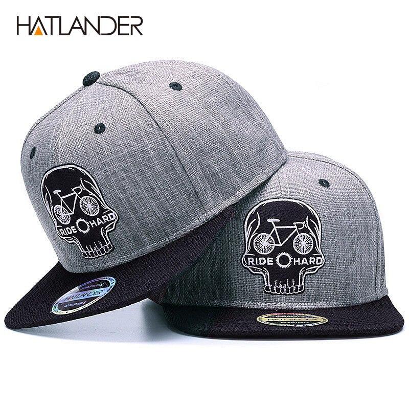 HATLANDER gorra de béisbol Original para hombre gorra de béisbol con calavera de bordado de marca gorra de hip hop de 6 paneles