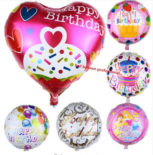 150pcs/lot 18inch Happy birthday decoration balloon birthday foil baloon heart H