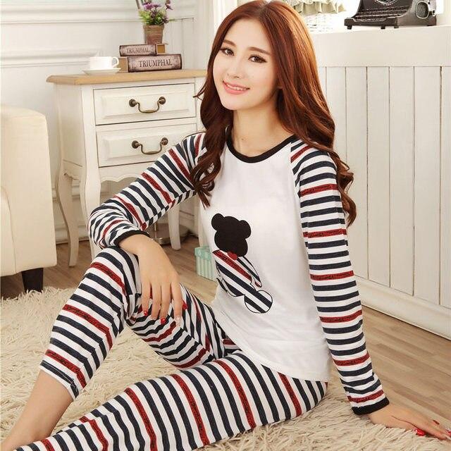 New long-sleeve cotton sleep pajama sets female nightwear lady Pyjamas  nightgowns teenage women pijamas Suits sleepwear Z2606 0b18d202d