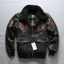 AVIREXFLY,, мужская куртка для пилота Air Force A2, внутренняя подкладка, съемная, толстая, Воловья кожа, пальто для русской зимы