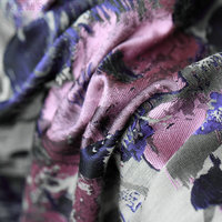 145cm Polyester Cotton Jacquard Fabric Romantic Violet Oil Painting Brocade Fabric For Luxury Dress Suit Jacket