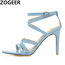 קיץ סנדלי נשים חמה מוצק קרסול רצועת גלדיאטור סנדלי גבירותיי גבוהה עקבים הנעלה צהוב כחול מסיבת חתונה נעלי גדול גודל