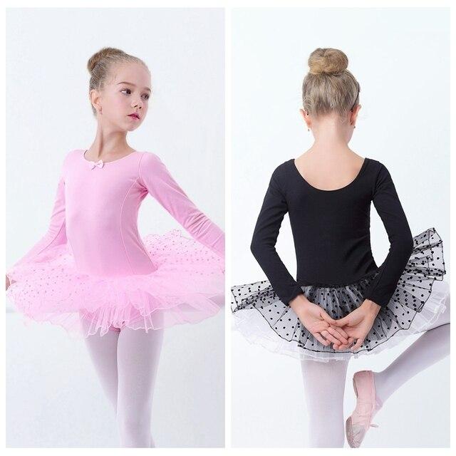 As meninas Da Criança Tutu de Ballet Rosa Preto Vestido de Princesa Ballet Dancewear Adorável Crianças Dot Tutu Ginástica Leotard Vestido