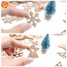 Creative Mini Wood Chips DIY Craft Christmas Wooden Ornaments DIY Scrapbooking Supplies Kids Gift Christmas Party Decorations