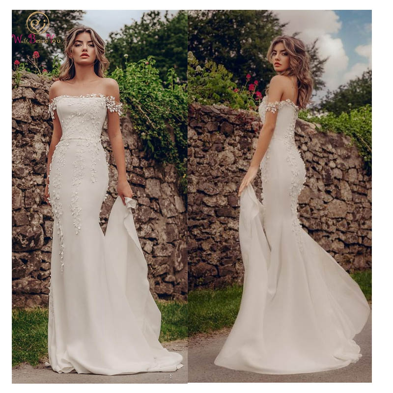 Boat Neck Mermaid Wedding Dresses 2019 Appliques Lace Beach Bridal Dress Custom Made Sexy Fairy White Ivory Satin Gowns