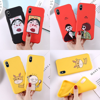 Lovebay Phone Case For iPhone 6 6s 7 8 Plus X XR XS Max Cute Cartoon Letter Deer Smiley Face Soft TPU For iPhone 5 5S SE Cover