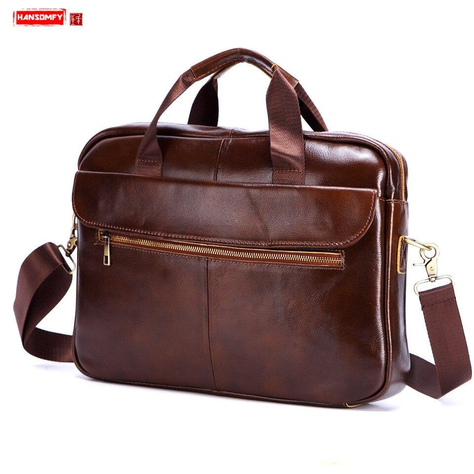 Nouveau sac à main en cuir véritable pour hommes sacoche pour ordinateur portable de 15