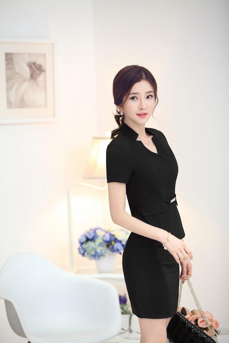 Элегантный черный Лето Бизнес Для женщин карьера костюмы куртки и юбки дамы Повседневная обувь юбка костюмы костюм с пиджаком плюс Размеры