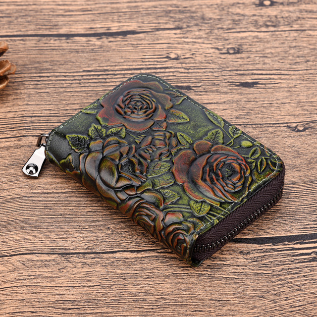 Women Natural Skin Zipper Bifold Wallet Credit Card Holder High Quality Genuine Leather Vintage Coin Pocket Short Money Purse