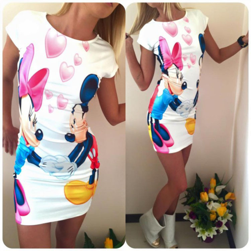 Womens Print English Letter Mickey Mouse Dress 2019 Sleeve Bag Hip Dress Women's Clothing