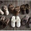 TASTIEN 2017 Новый Зима Женщины Мужчины Теплые Крытые Ботинки Кожаные Тапочки Плюшевые Тапочки Хлопка Прекрасная Пара Дом Обуви Большого Размера