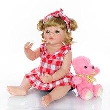 vinyl skin bebes reborn dolls 55cm girl silicone baby doll realistic Fake bath toy with fashion blonde hair children