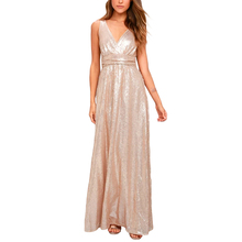 Pink sleeveless plunge neck high waisted sequined maxi dresses