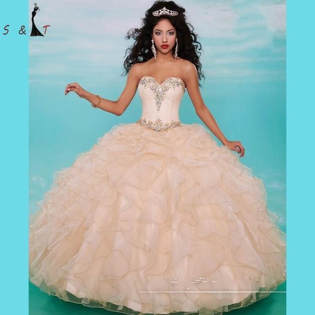 Bonito Pêssego Vestidos Quinceanera com Jaqueta de 2016 Lace Frisada Corpete Masquerade vestido de Baile Doce 16 Partido Dress15 anos vestido