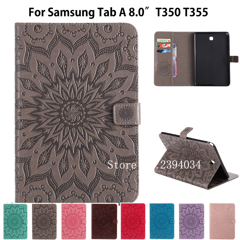 T350 Case For Samsung Galaxy Tab A 8.0 SM-T350 T355 SM-T355 Cover Funda Tablet Sunflower Embossed Folio PU Leather Stand Shell for funda samsung galaxy tab s2 9 7 case cover new kst folding flip folio pu leather case for samsung tab s2 9 7 sm t815 sm t810