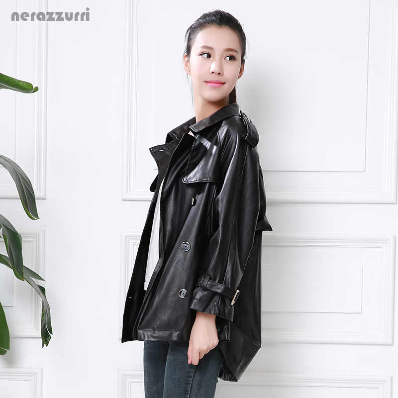 Nerazzurri fall faux leather jackets women plus size 5xl 6xl 7xl red black gray blue soft double breasted pu leather trench coat
