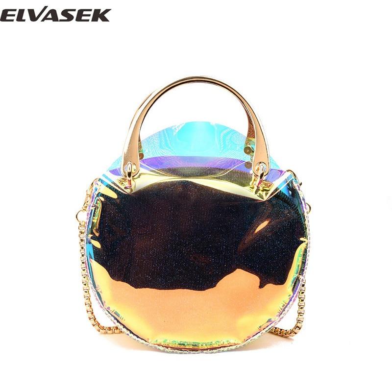 ELVASEK Handbag PVC Women Handbags Cool Double Layer Fashion Jelly Packs Round Bag Bags For Girl Female Colorful Bags A5412/k