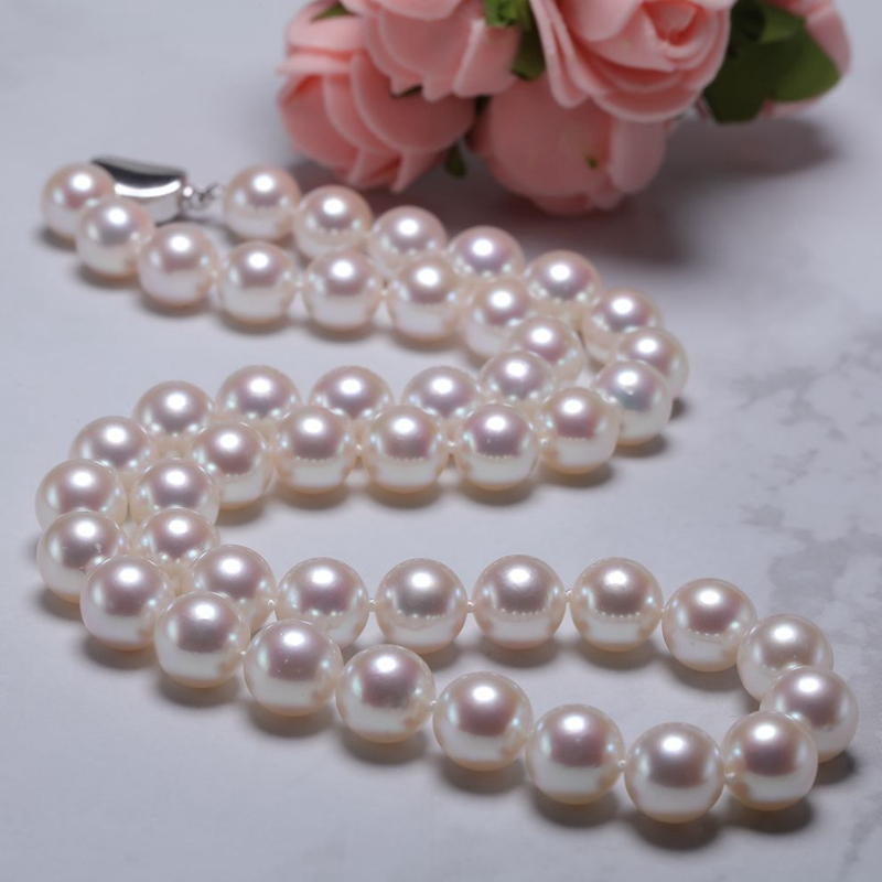 [YS] 8 8.5mm White Japanese Akoya Cultured Natural Pearl Necklace