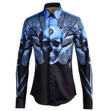 Mens Dress Shirts 3D digital printing Long Sleeve Shinny Casual Button Down Nightclub Style