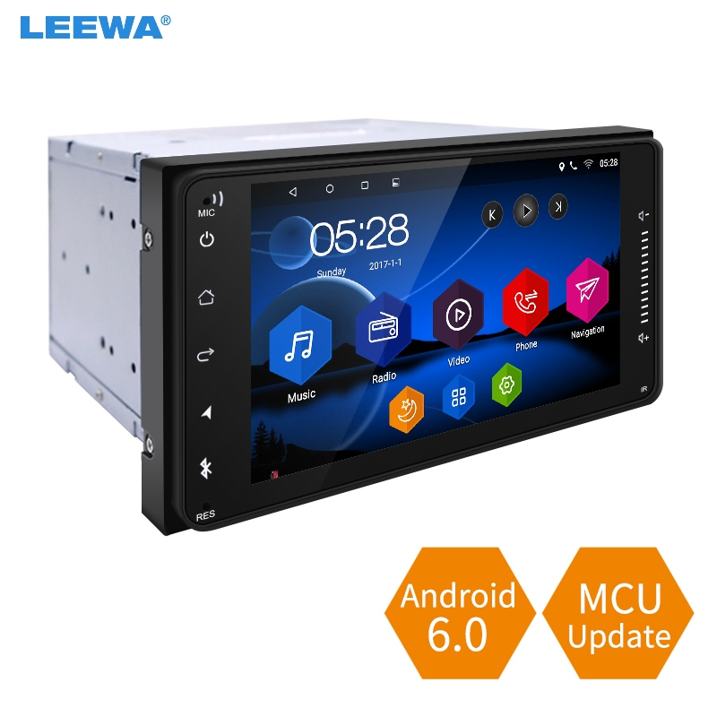 LEEWA 7inch Short Case Android 6.0 Quad Core Car Media Player With GPS Navi Radio For Toyota Universal 2DIN RAV4/Corolla/HILUX feeldo 7inch android 4 4 2 quad core car media player with gps navi radio for nissan hyundai universal 2din iso gift am3900