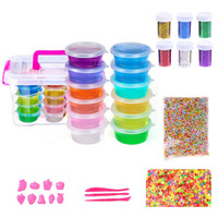 DIY Slime Kit Supplies for Kids Includes: Fluffy Slime, Foam Balls,Glitter,Storage container,Slime Tools Boys & Girls