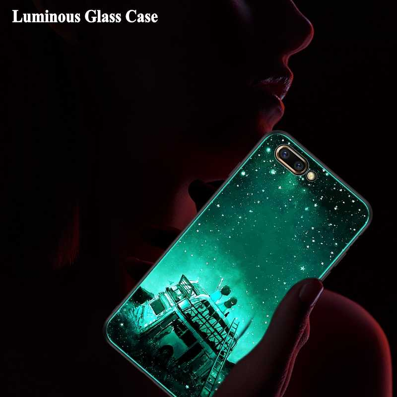 Tempered Glass Case for Huawei Honor 10 9 8 Honor 8X Max 7X Cover Luminous Shockproof Case for Huawei Honor V10 V9 V8 7C 7A Pro