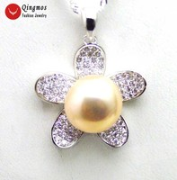 Qingmos 24mm Flower Sterling Silver 925 Pendant Necklace for Women with 11 13mm Pink Flat Round Pearl Pendant 16 Silver Chain