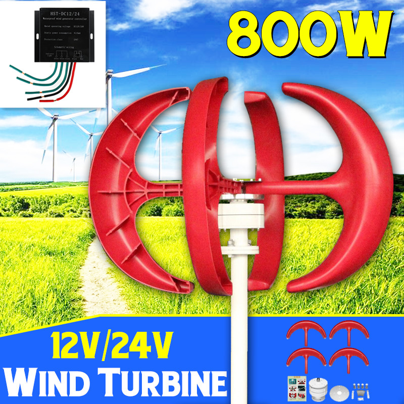 800W Wind Turbines Generator + Controller 12V24V 5 Blade Lantern Vertical Axis For Residential Household Streetlight Use800W Wind Turbines Generator + Controller 12V24V 5 Blade Lantern Vertical Axis For Residential Household Streetlight Use