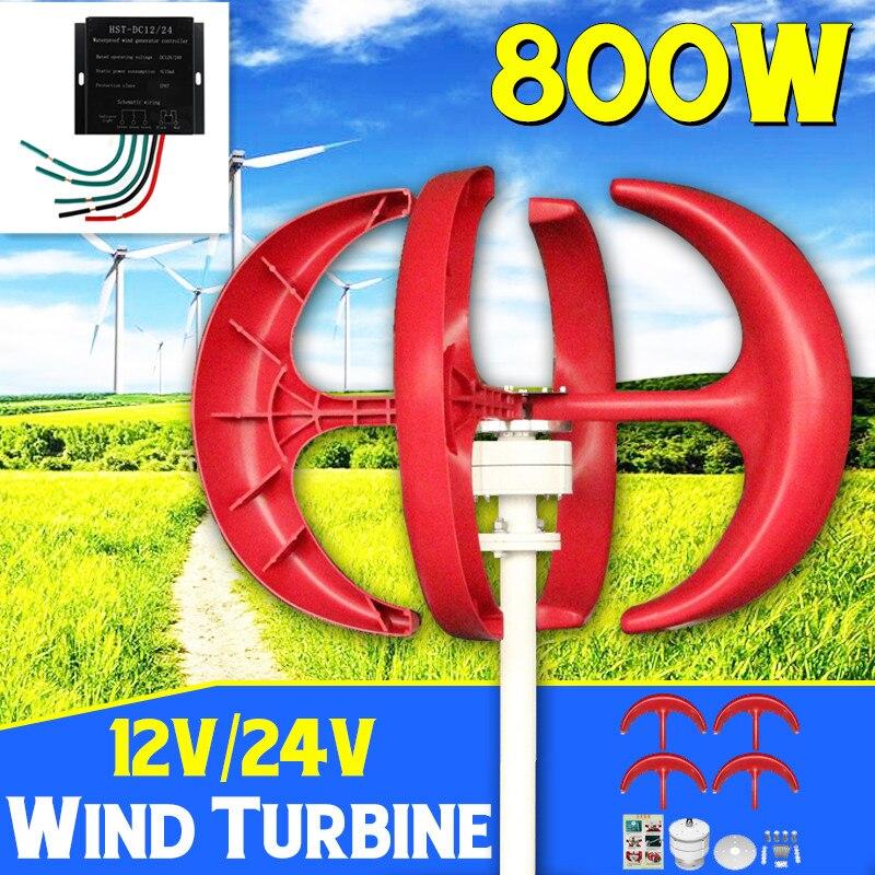 Gerador de Turbinas Eólicas 800 W + Controlador 12V24V 5 Lâmina Lanterna Rua Utilização de Eixo Vertical Para Casa Residencial