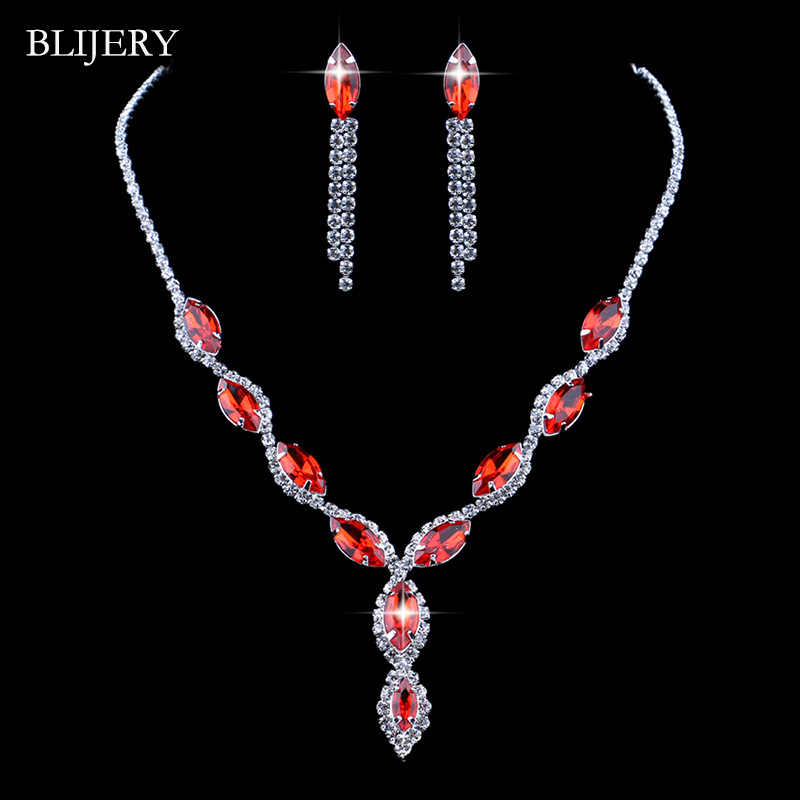 BLIJERY Fashion Floral Bridal Jewelry Sets Charm Red Crystal Rhinestone Necklace Earrings Wedding Jewelry Sets  for Women Party