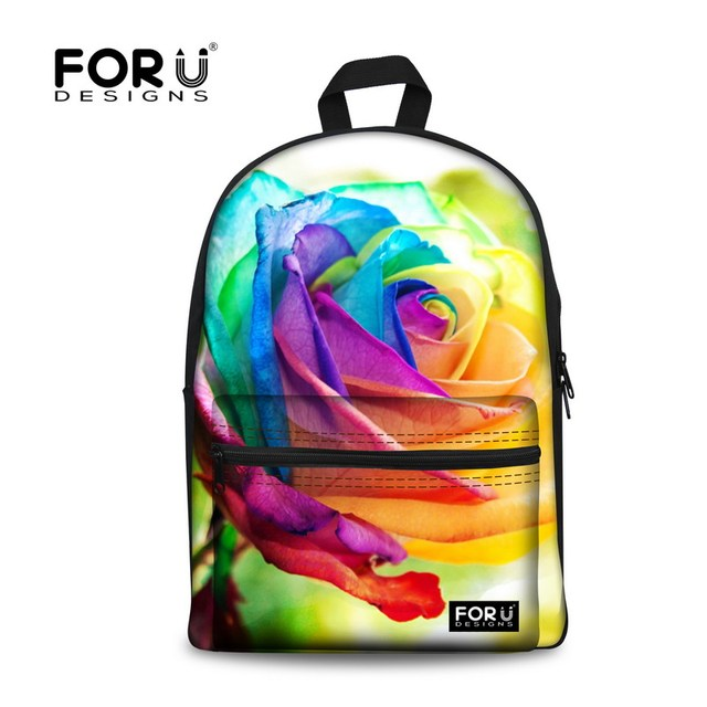 FORUDESIGNS Brand Floral Children Canvas Backpack Rose Girls School Backpack For Teenager Women Flower Rucksack Mochila Backbag