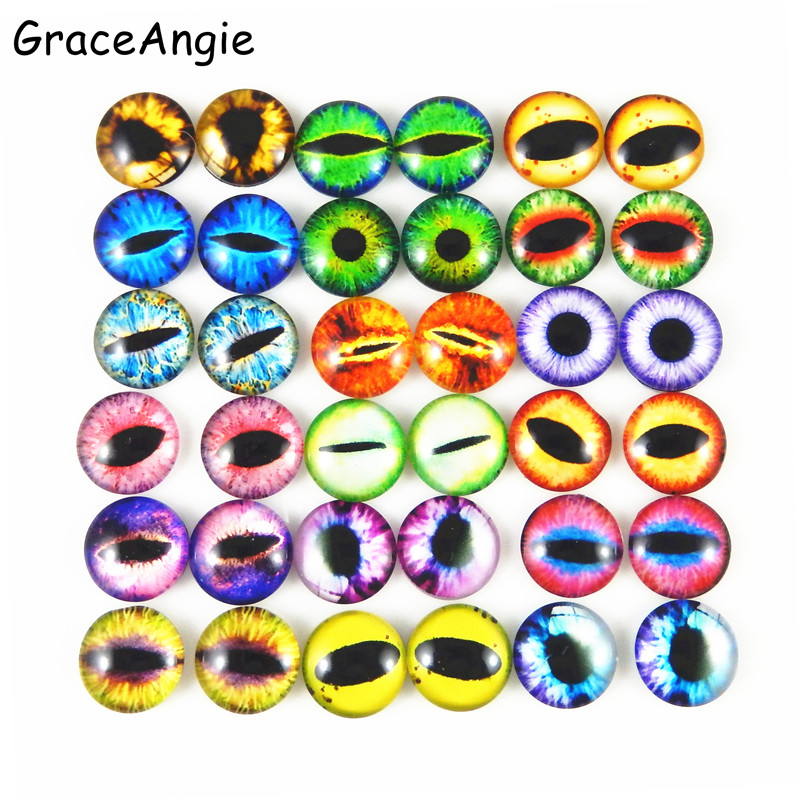 GraceAngie Round 8MM 50pcs Glass Dragon Lizard Frog Vivid Eyes Handmade Fashion Cabochon Not Heated Crafts Charms Accessory(China)