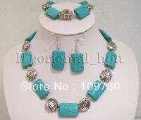 Jewelry 00269 Blue Tibet Necklace bracelet Earrings SET
