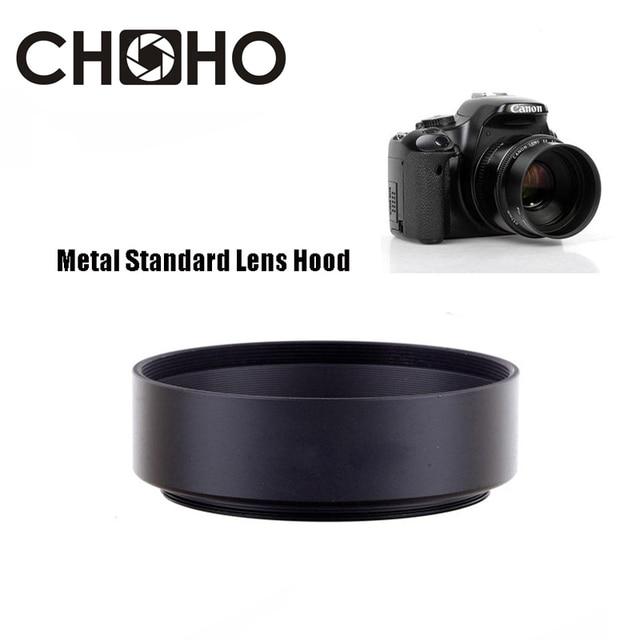De Metal lente estándar Hood 49mm 52mm 58mm 55mm 62mm 67mm 72mm 77mm 82mm tornillo Tubular Lente proteger para Canon Nikon Sony
