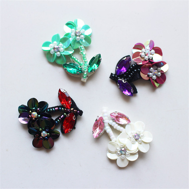Maxsin Fun Fashion Rhinestone Beads Flower Applique Patches for Clothing Bags Brooch Clothes Sew on Floral Patches