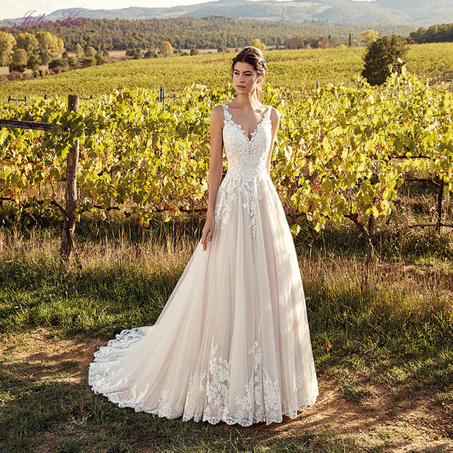f6961d2ed8 Julia Kui Spaghetti Straps Of A Line Wedding Dresses With Fanasitic V  Neckline Appliques Buttons Closure Bridal Dress