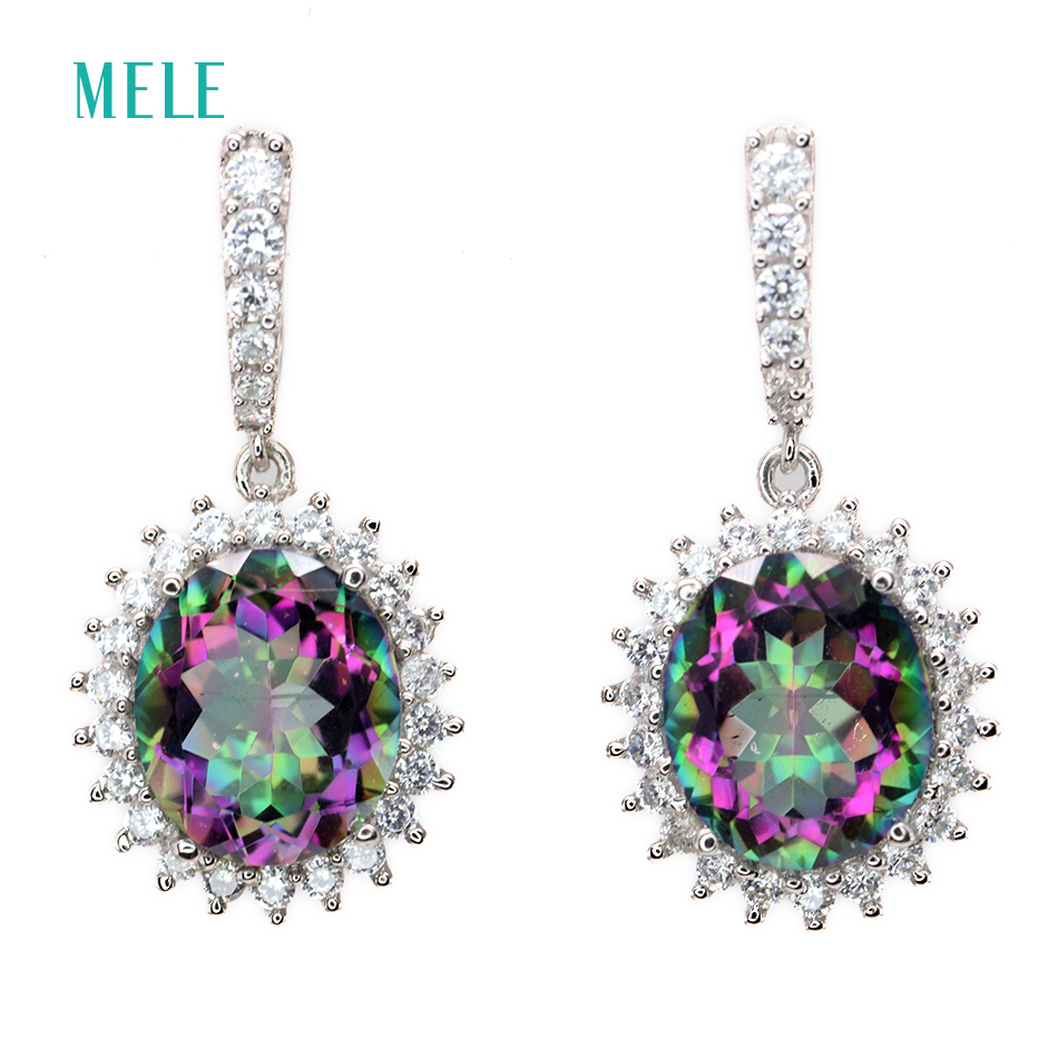 MELE Natural mystic quarts silver earring big oval 10mm 12mm rainbow crystal silver jewelry fashion and