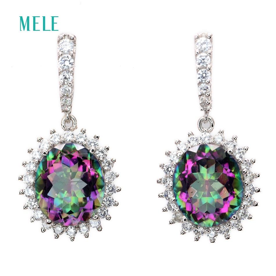 MELE naturalny mystic kwarty srebrny kolczyk, duży owalny 10mm * 12mm, tęczowy kryształ biżuteria srebrna, moda i klasyczny styl w Kolczyki od Biżuteria i akcesoria na  Grupa 1