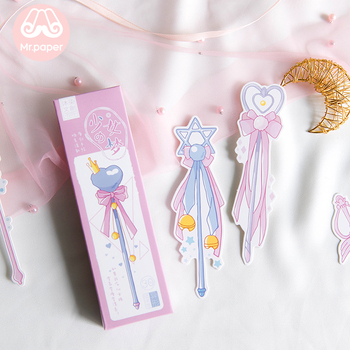 Mr Paper 30pcs/box Cartoon Dreamy Pink Fairy Wand Irregular Bookmarks for Novelty Book Reading Maker Page Paper Bookmarks Gifts 1