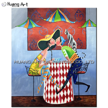 Hand-painted Lovers Kiss at Coffee Shop Oil Painting on Canvas Abstract Figure Oil Painting Cartoon Picture Art for Living Room